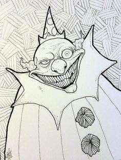 Clowny - Art by Krowe (Jake Perez) Pen, Clown, Drawings, Art, Ink, Humanoid Sketch, Draw, How To Draw Hands
