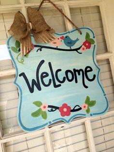 Floral, Cheerful Birds Welcome Wooden Door Hanger. Use Year Round via @arhjohnston on Etsy.
