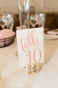Wine cork + calligraphy table numbers - Photography Candice Adelle