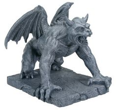 A fearsome horned guardian features in this medieval statue. Originally designed to frighten off evil spirits, gargoyles make a great addition to any home or garden. Made of cold cast resin. Hand pain