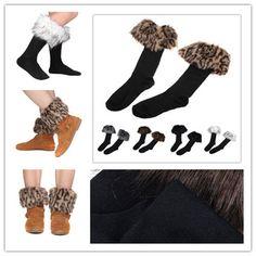 Women Faux Fur Socks Leg Winter stocking Fur Cover Cuff Fit Boots New tnjjz55 #Unbrand #Athletic