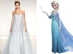 Elsa de Alfred Angelo's Disney Princess Wedding Gowns We can't let it go—this icy embellished gown is just plain stunning! Blue Wedding Dresses, Wedding Gowns, Bridesmaid Dresses, Frozen Wedding, Princess Wedding, Alfred Angelo, Disney Inspired Wedding, Disney Weddings, Storybook Wedding