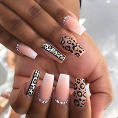 Have you ever thought of rocking coffin nail designs? We bet you have. It is a perfect mediation of stiletto nails and French manicure. These nail shapes are extremely popular. Even celebrities… Leopard Nail Designs, Leopard Print Nails, Dope Nails, Swag Nails, Grunge Nails, Gorgeous Nails, Pretty Nails, Perfect Nails, Pink Nails