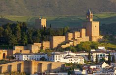 Moorish castle Alcazaba in Antequera, Andalusia Spain Iberian Peninsula, Andalusia Spain, Cities, Spain And Portugal, Aragon, Moorish, Malaga, Granada, Travel Around