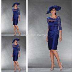 Online Shop 2015 Best Selling Sheath/Column 3/4 Sleeves Beading Strapless Satin Short Knee-Length Mother of the Bride Dresses JFM398|Aliexpress Mobile