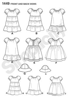 Simplicity 1449 Toddlers' Dress and Hat in Three Sizes Little Girl Dress Patterns, Little Girl Dresses, Girls Dresses, Toddler Sewing Patterns, Simplicity Sewing Patterns, Dress Card, Fashion Design Sketches, Toddler Girl Dresses, Sewing For Beginners