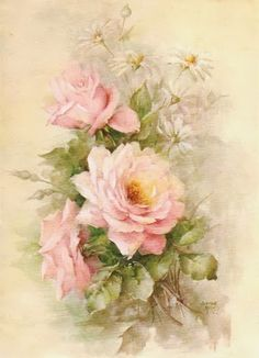 Vintage Roses and Daisies