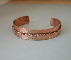 Twisted wire and hammered copper cuff - Copper jewelry - copper bracelet - unisex bracelet on Etsy, $15.00