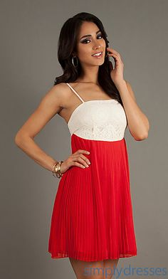 Short Spaghetti Strap Pleated Dress at SimplyDresses.com