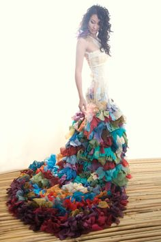 Multicoloured wedding dress