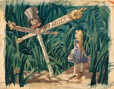 The Walt Disney Film Archives. The Animated Movies 1921–1968 book, a scene from art director David Hall's 1939 treatment for Alice in Wonderland (1951).