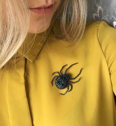 beads brooch spider perlen brosche spinne