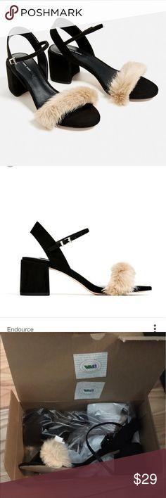 Zara faux fur block heels, brand new with tags Never worn faux fur Zara heels size 39 Zara Shoes