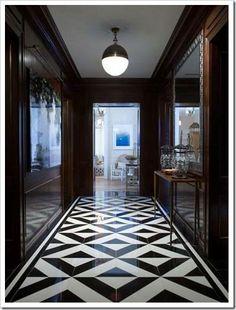 black and white high-polish floor tiles