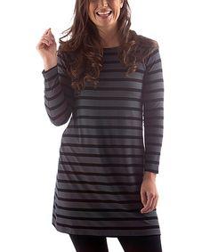 Another great find on #zulily! Black & Slate Stripe Mia Boatneck Tunic #zulilyfinds