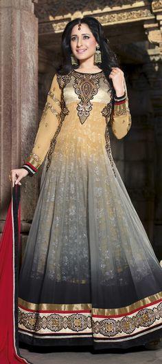 434465: Black and Grey, Orange color family unstitched Anarkali Suits .