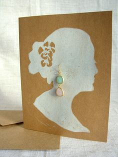 Silhouette Double Drop Earrings and Card by heartsbeatelectric, $22.00