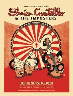 Elvis Costello T-bone & Aljax: rock posters Tour Posters, Band Posters, Music Posters, 1950s Posters, Music Illustration, Illustrations, Vintage Concert Posters, Elvis Costello, Rock And Roll Bands