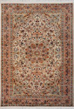 "Ivory Persian Silk Kirman Rug 4' 1"" x 6' (ft) - No. 12095  http://alrug.com/ivory-persian-silk-kirman-rug-4-1-x-6-ft-no-12095.html"