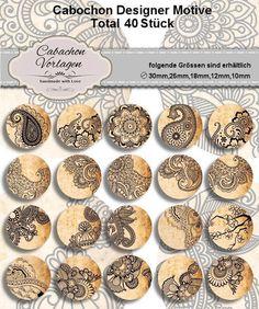 40 Cabochon Vorlagen Kreis Rund Download CA098 von Vintage Styler auf DaWanda.com