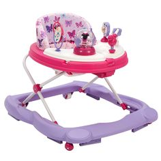 Disney Baby Minnie Mouse Premier Music & Lights Walker includes 4 Minnie Mouse & Friends toys. Musical light up Minnie, Daisy bead rail. Donald spinner. Mickey playing soccer.