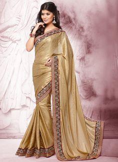 Stunning Gold Satin Georgette Saree