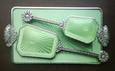 Vintage 1930's Art Deco Green Guilloche Hair Brush & Mirror Vanity Set