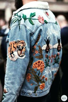 Uploaded by h a n n a h. Find images and videos about gucci, denim jacket and oversized on We Heart It - the app to get lost in what you love. Denim Jacket Patches, Patched Jeans, Denim Jacket Men, Men's Denim, Denim Style, Denim Jackets, Patch Jean Jacket, Jean Jackets With Patches, Jean Vest Men