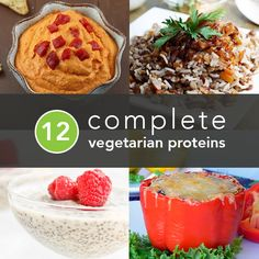 12 Complete Vegetarian Proteins This is an excellent overview and reference. The recipe links are helpful, too. This is seriously one of the best vegan protein lists I've seen ! Vegetarian Protein, Vegetarian Recipes, Healthy Protein, High Protein, Yummy Recipes, Protein Foods, Plant Protein, Protein Recipes, Protein List