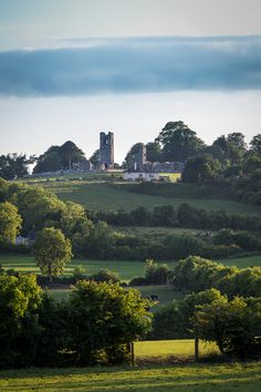 The Hill of Slane in County Meath Ireland lit by evening light.