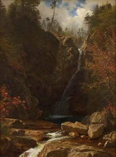Glen Ellis Falls, by Albert #Bierstadt. An 1869 landscape painting by Albert Bierstadt depicting Glen Ellis Falls, located in the White Mountains of New Hampshire. On VintPrint.com as a #poster. #forsale #waterfall #buy #fineart #art