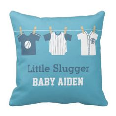 Blue Baseball Baby Boy Nursery Decor Pillow