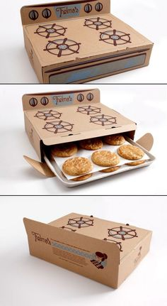 Packaging // food// cookies // Thelma's is a warm cookie delivery business named in honor of the owner's great-grandma, famous for her snickerdoodle cookie recipe. For an added touch, a few words of wisdom from Thelma are printed on the back of the box. Clever Packaging, Food Packaging Design, Brand Packaging, Packaging Ideas, Packaging For Cookies, Bottle Packaging, Dessert Packaging, Cupcake Packaging, Product Packaging