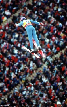 Eddie the Eagle Edwards Calgary 1988 Olympics - not very good at ski jumping but then who is other than Scandinavians.  Came dead last in both events and came home a hero, we do like a trier in the UK.