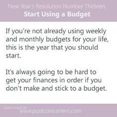 Resolve To: Start Using a Monthly or Weekly Budget