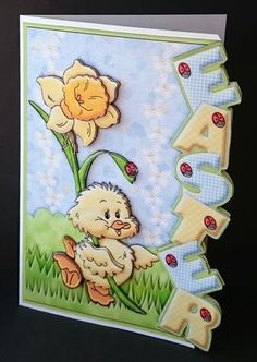 EASTER Chick and Daffodil Over the side card on Craftsuprint designed by Janet Briggs - made by Sue Soules