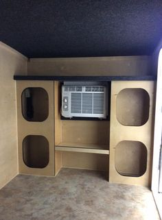 Runaway Camper built in shelving system.