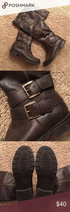 Nicole Brown Boots Worn a handful of times... have them in black and I wear them almost daily. Super comfy boot. Nicole Shoes