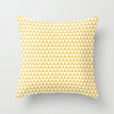 triangles - yellow and white Throw Pillow by her art