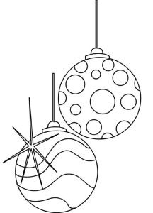 2 Hanging Christmas Ornaments - Free Coloring page for adults