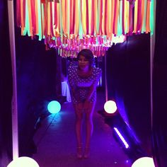 Glow In The Dark Party Neon Colored Paper Cut Into Strips To Hang By Black Lights Balloons With Sticks She Put Plastic On Her Walls