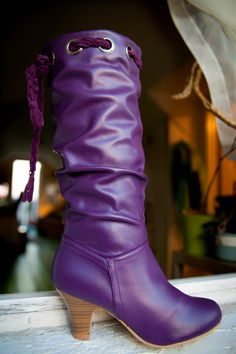 Graceland At/Below Knee Heel Boot.  Available sizes 6 to 10 in Purple/Plum (color pictured) @ $29.99