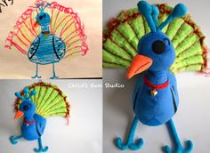 Have your kids drawings transformed into plush! Love this idea!