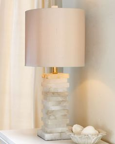 BEDSIDE TABLES: Stacked Stone Lamp