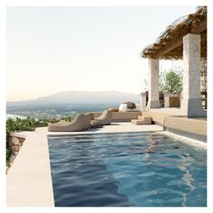 The building harmoniously blends in with the nature around it; the exterior consists of two levels that allow the land slope to be maintained. Swimming Pool Designs, Swimming Pools, Exterior Design, Interior And Exterior, Jacuzzi Outdoor, Lounge Areas, Ground Floor, Home Projects, Interior Architecture