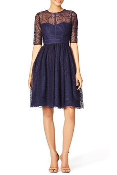 Navy Lines Dress by ML Monique Lhuillier for $85 | Rent The Runway