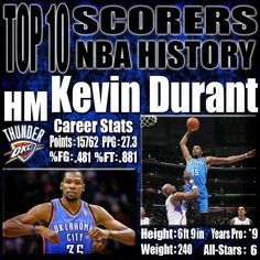 Kevin Durant still has a lot of basketball to play before he is considered one of the greatest shooters in NBA history. That being said, Kevin Durant has proven thus far in his career that he is a complete offensive force. KD was actually a point guard in his youth, but because of his massive growth spurt, it turned him into a point guard playing in a forwards body. http://www.prosportstop10.com/top-10-scorers-in-nba-history/