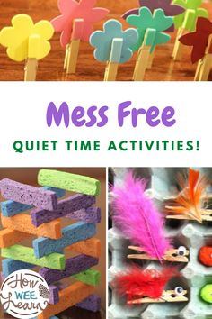 Quiet time activities are great, but only when there is no huge mess to clean up after! These quiet ideas are perfect for toddlers and preschoolers to use during quiet time as they are full of fun and learning while still being relatively mess free! 3 Year Old Activities, Quiet Time Activities, Kids Learning Activities, Fun Learning, Toddler Activities, Easy Crafts, Crafts For Kids, Construction Paper Crafts, Imaginative Play