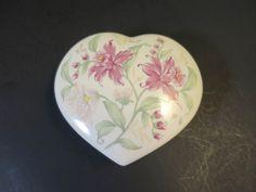 Vintage Heart Box Otagiri Prima Porcelain White w/ Pink White Flowers Green Leaves Jewelry Keepsake Candy Trinket Desk Box by BonniesVintageAttic on Etsy