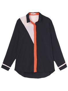 Sale 18% (13.88$) - Elegant Slim Color Block Patchwork Lapel Women Chiffon Blouse